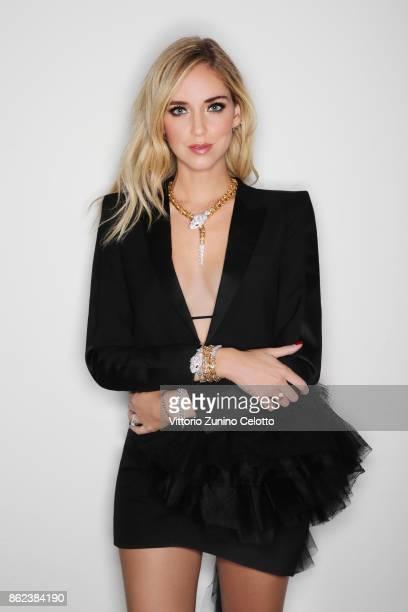 Fashion businesswoman Chiara Ferragni poses for a portrait during amfAR Gala Milano on September 21 2017 in Milan Italy