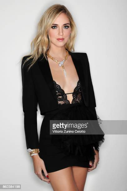 Fashion businesswoman Chiara Ferragni poses for a portrait during amfAR Gala Milano on September 21 2017 in Milan Italy