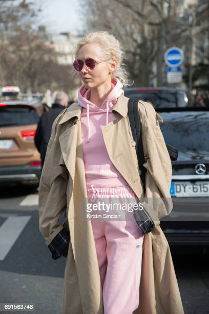 Fashion buyer and concept store owner Olga Karput wears all Vetements on day 3 during Paris Fashion Week Autumn/Winter 2017/18 on March 2 2017 in...