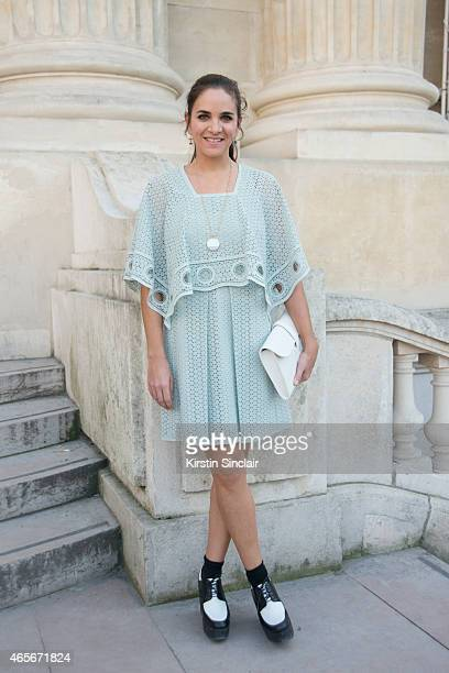 Fashion Buyer and Coowner of The Webster Laure Heriard Dubreuil wears a Chloe dress at the Chloe show on day 6 of Paris Collections Women on March 08...