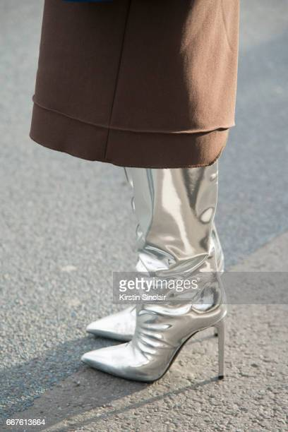 Fashion buyer for Restir Maiko Shibata wears Balenciaga boots on day 4 of London Womens Fashion Week Autumn/Winter 2017 on February 20 2017 in London...