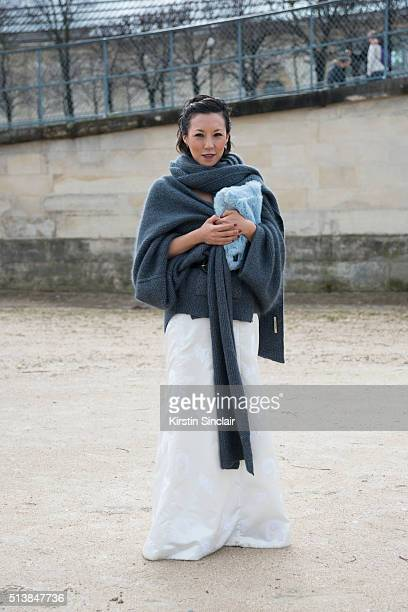 Fashion Buyer Jeanie Lee wears a Hellessy look and Ports 1961 on day 4 during Paris Fashion Week Autumn/Winter 2016/17 on March 4 2016 in Paris France