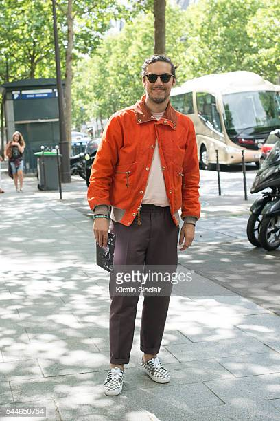 Fashion Buyer Pierre Longchamps wearing an Acne top Monitaly jacket and Vans trainers on day 4 of Paris Collections Men on June 25 2016 in Paris...