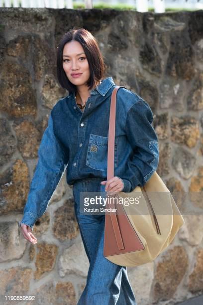 Fashion Buying Director for Mytheresa.com Tiffany Hsu wears all Loewe during Paris Fashion Week Womenswear Spring Summer 2020 on September 27, 2019...