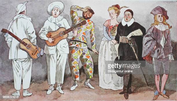 Fashion clothes costumes in France around 1715 figures of an Italian comradeinarms Commedia dell arte from the left clothes of the Pullicinello...