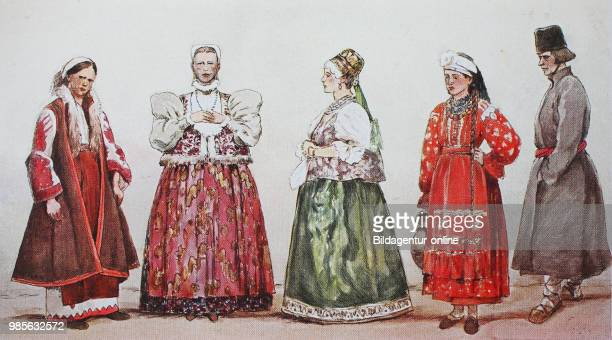 Fashion clothes folk costumes in European Russia the Greater Russians from the left a Greater Russian woman a woman from Nizhny Novgorod and a woman...