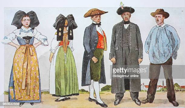 Fashion clothes folk costumes in France Alsace around the 19th century from the left a woman in traditional dress from Truchtersheim near Strasbourg...