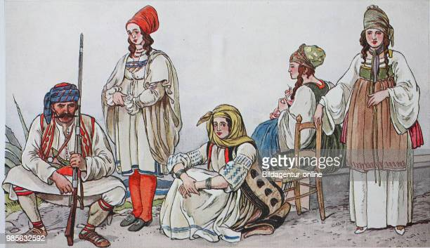 Fashion, clothes, folk costumes in Greece and Albania around 1800, from the left, an Albanian, a Greek from the island of Mykone, a woman from the...