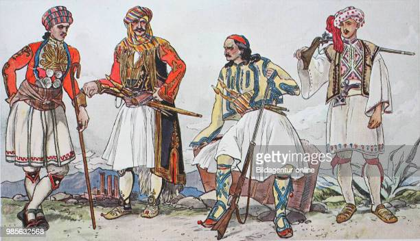 Fashion, clothes, folk costumes in Greece around 1825-1830, from the left, peasants from the area of Athens wearing festival robes, a janissary from...