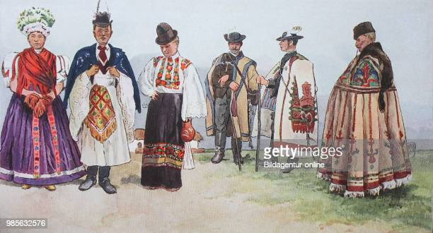 Fashion, clothes, folk costumes in Hungary, from the left, a couple from Mezzoekewecz, then a woman from Mezzoekewecz, then a Hungarian cowherd, a...