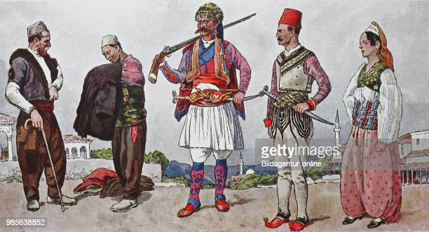 Fashion clothes in Albania around the 19th century from the left two clothes traders from Tirana in the costume of the Pelikaren then a Mohammedan...