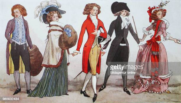 Fashion clothes in France costume pictures from winter 17881789 digital improved reproduction from an original from the year 1900