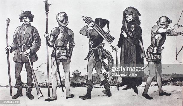Fashion clothing in Germany in the late Middle Ages 14751500 from the left Low German farmer with spade and a shepherds stick a mercenary with...