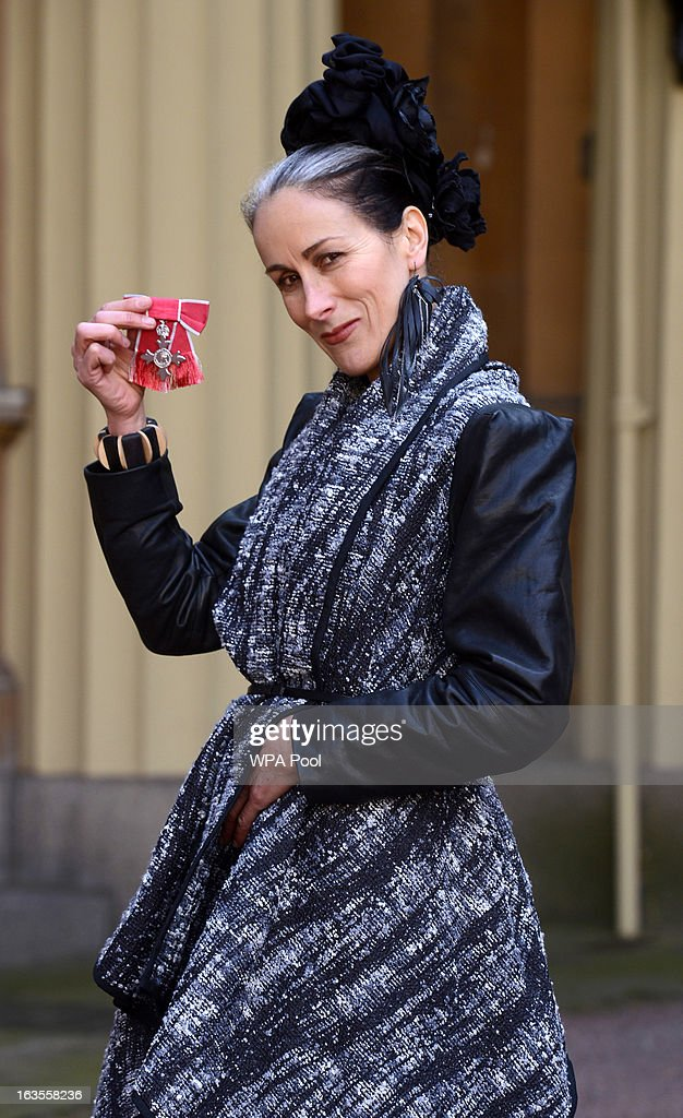 Fashion commentator Caryn Franklin at Buckingham Palace where she received an MBE during an investiture ceremony on March 12, 2013 in London, England.