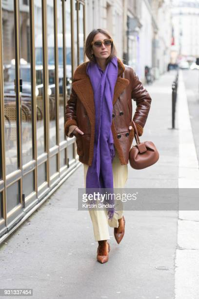 Fashion consultant and blogger Chloé Harrouche of Loulou De Saison wears Diane Ducasse trousers Gabriella Hearst bag yves Salamon jacket and Céline...