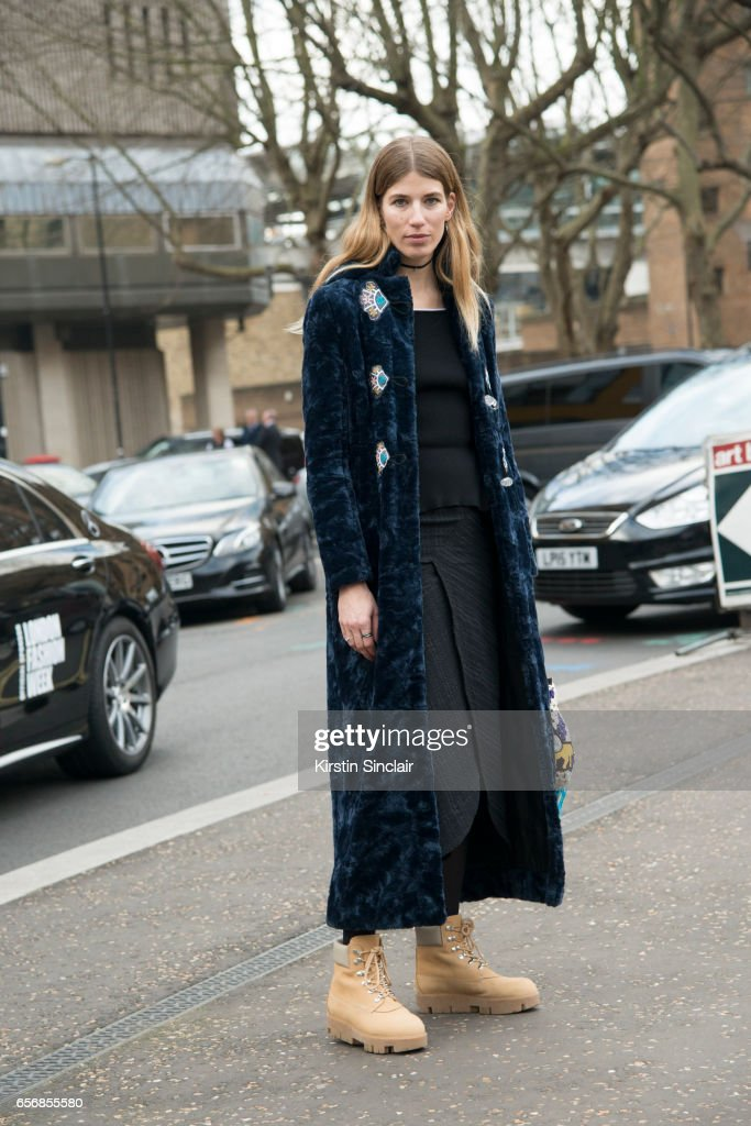 Fashion consultant and founder of Hey Woman Veronika Heilbrunner wears Acne boots on day 3 of London Womens Fashion Week Autumn/Winter 2017, on February 19, 2017 in London, England.