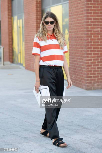 Fashion consultant and writer Veronica Heilbrunner wears SS world Corp trousers Nike T shirt and Birkenstock sandals during London Fashion Week...