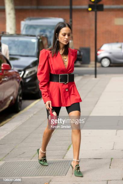 Fashion consultant Anna Rosa Vitiello wears an Anna October jacket, Wardrobe NYC bike shorts, Frame denim black belt, Jacquemus bag and Manolo...