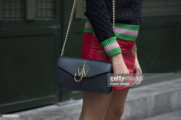 Fashion consultant Blanca Miro wears Gucci top and glasses Topshop skirt and JW Anderson bag on day 2 of London Womens Fashion Week Spring/Summer...