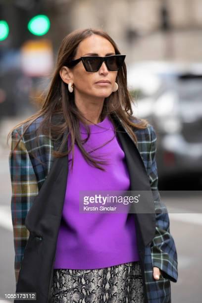 Fashion Consultant Chloé Harrouche of Loulou De Saison wears Celine sunglasses and earrings Regina Pyo bag Tibi jacket and sweater Alexa Chung skirt...