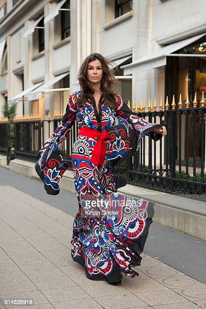 Fashion Consultant Christina Pitanguy wearing all Mario Dice on day 8 during Paris Fashion Week Autumn/Winter 2016/17 on March 8 2016 in Paris France