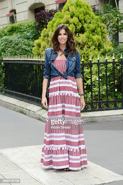 Fashion Consultant Christina Pitanguy wears a Dodo Bar Or dress and a Diesel shirt day 2 of Paris Haute Couture Fashion Week Autumn/Winter 2016 on...