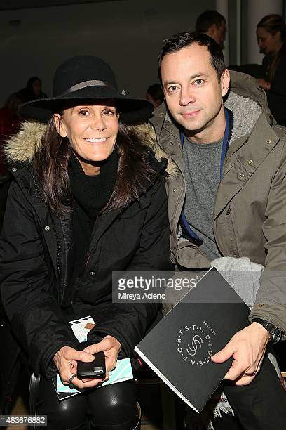 Fashion consultant Julie Gilhart and Laurent Claquin attend Baja East runway show during MADE Fashion Week Fall 2015 at Milk Studios on February 17...