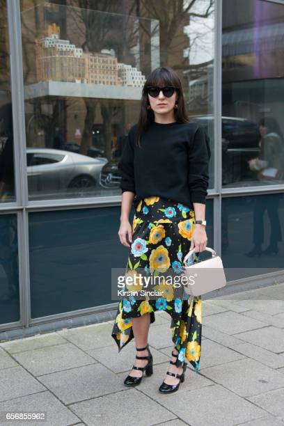 Fashion consultant Katherine Ormerod wears Celine sunglasses Tabitha Simmons shoes Sophie Hulme bag Johnston's of Elgin top and a Top Shop skirt on...
