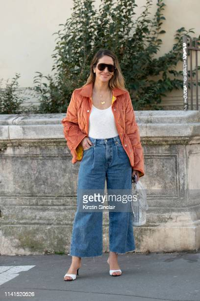 Fashion consultant Tiany Kiriloff wears an Aalto jacket, Coccinelle bag, Levi's jeans, Giuseppe Zanotti shoes and Tods sunglasses on February 27,...