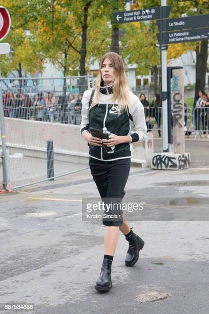 Fashion consultant Veronika Heilbrunner wears a Nike jacket and Eytys shoes day 3 of Paris Womens Fashion Week Spring/Summer 2018 on September 28...