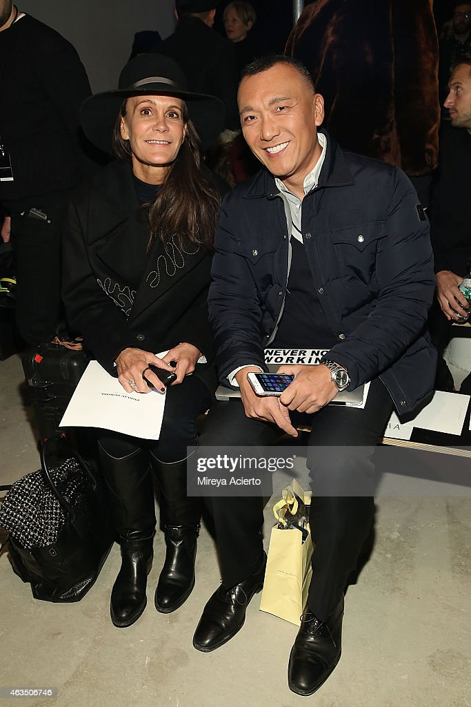 Fashion consultatn Julie Gilhart and television producer Joe Zee attend Public School runway show during MADE Fashion Week Fall 2015 at Studio 330 on February 15, 2015 in New York City.