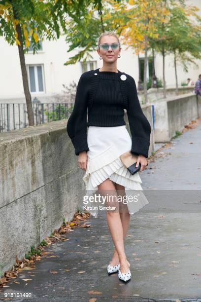 Fashion consutant Roberta Benteler wears a Jacquemus skirt and sweater Balenciaga shoes and Le Specs sunglasses day 6 of Paris Womens Fashion Week...