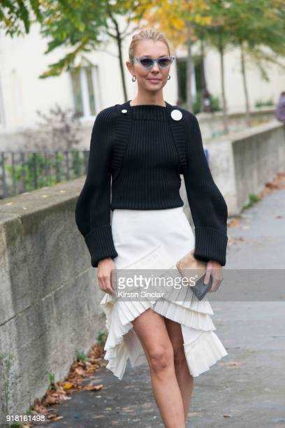 Fashion consutant Roberta Benteler wears a Jacquemus skirt and sweater and Le Specs sunglasses day 6 of Paris Womens Fashion Week Spring/Summer 2018...
