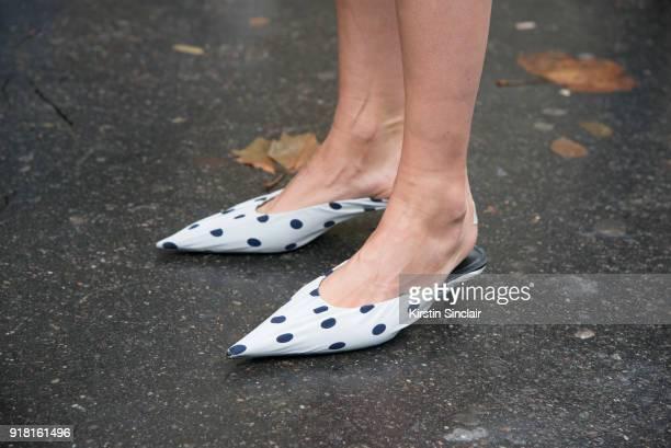 Fashion consutant Roberta Benteler wears Balenciaga shoes day 6 of Paris Womens Fashion Week Spring/Summer 2018 on October 1 2017 in London England