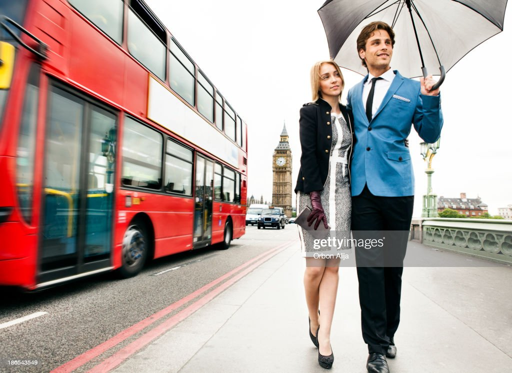 Fashion couple in London : Stock Photo