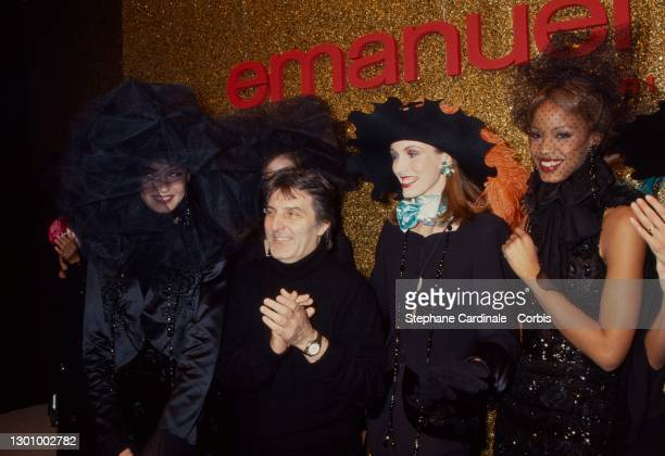 Fashion desgner Emmanuel Ungaro pose with models after the Emmanuel Ungaro Ready to Wear AW 1994-95 show as part of Paris Fashion Week on March 08,...