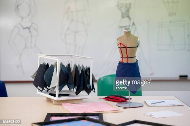 Fashion design atelier with fabrics and a mannequin