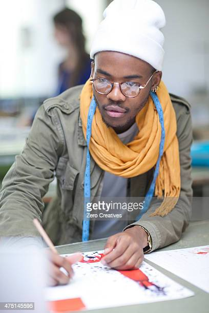 Fashion design student in class