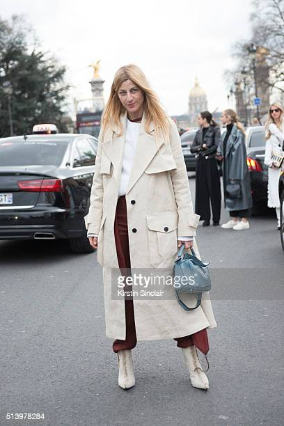 Fashion designer Ada Kokosar wears a Loewe bag and Acne jacket and shoes on day 5 during Paris Fashion Week Autumn/Winter 2016/17 on March 5 2016 in...