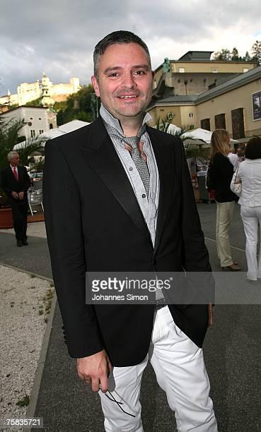 Fashion designer Adrian Runhof arrives for the opening concert of Salzburg summer festival on July 27 2007 in Salzburg Austria
