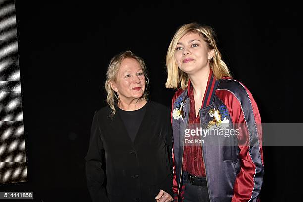 Fashion designer Agnes B and Louane Emera attend the Agnes B show as part of the Paris Fashion Week Womenswear Fall/Winter 2016/2017 on March 8 2016...