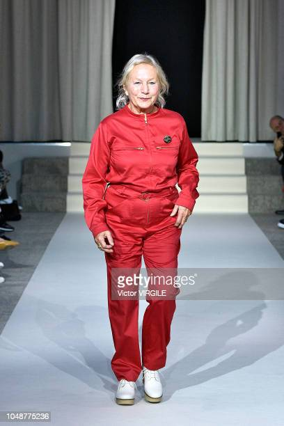 Fashion designer Agnes B walks the runway during the Agnes B Ready to Wear fashion show as part of the Paris Fashion Week Womenswear Spring/Summer...