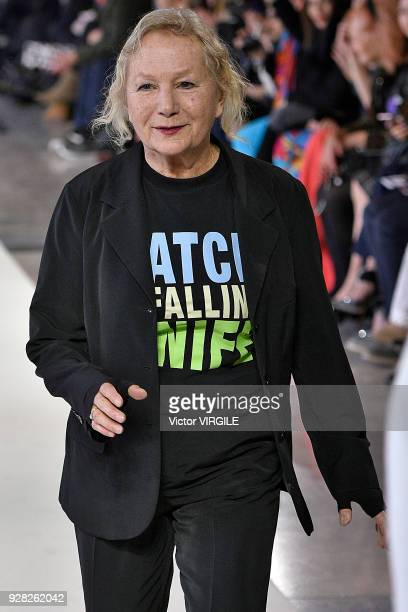 Fashion designer Agnes B walks the runway during the Agnes B Ready to Wear fashion show as part of the Paris Fashion Week Womenswear Fall/Winter...