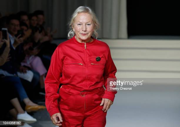 Fashion designer Agnes Trouble acknowledges the audience at the end of the Agnes B show as part of the Paris Fashion Week Womenswear Spring/Summer...