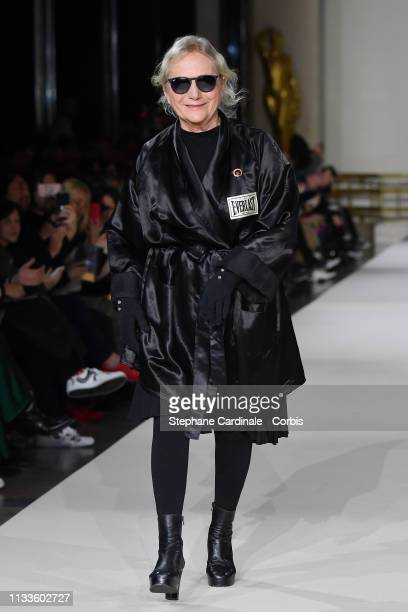 Fashion Designer Agnes Trouble walks the runway during the Agnes B show as part of the Paris Fashion Week Womenswear Fall/Winter 2019/2020 on March...