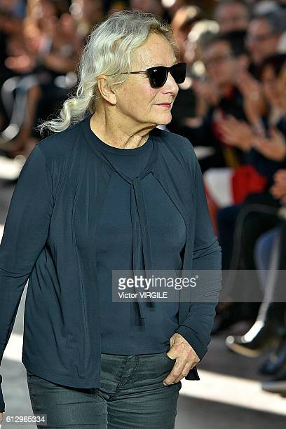Fashion designer Agnes Trouble walks the runway during the Agnes B show as part of the Paris Fashion Week Womenswear Spring/Summer 2017 on October 4...