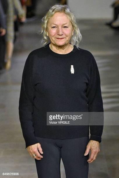 Fashion designer Agnes Trouble walks the runway during the Agnes B designed by Agnes Trouble show as part of the Paris Fashion Week Womenswear...