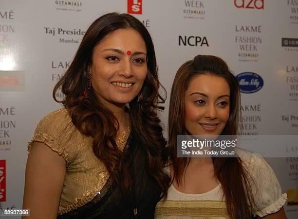 Fashion designer Agnimitra Paul with bollywood actress Minisha Lamba at Lakme Fashion Week Spring Summer2007 in Mumbai Maharashtra India