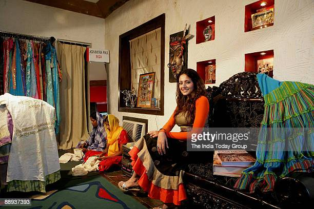 Fashion designer Agnimitra Paul with her outfit at her Studio in Kolkata West Bengal India