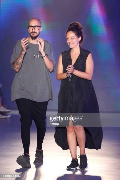 Fashion designer Alba Martínez Armengola and Xavier Martínez Checa walks the runway at the Killing Weekend show during Barcelona 080 Fashion Week...